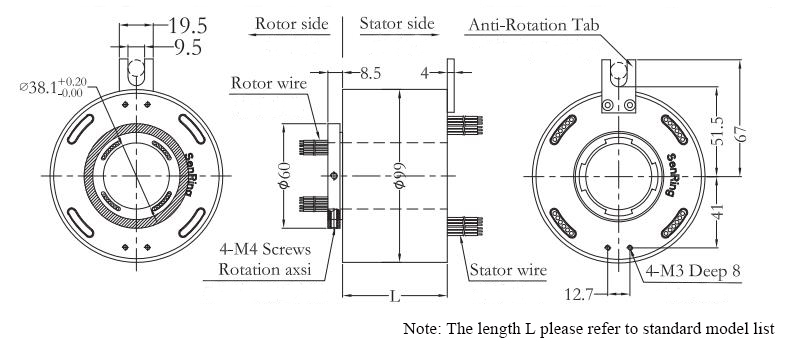 ATO-THSR-H3899 Through Bore Slip Ring Dimension Drawing