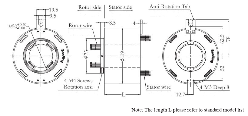ATO-THSR-H50119 Through Bore Slip Ring Dimension Drawing