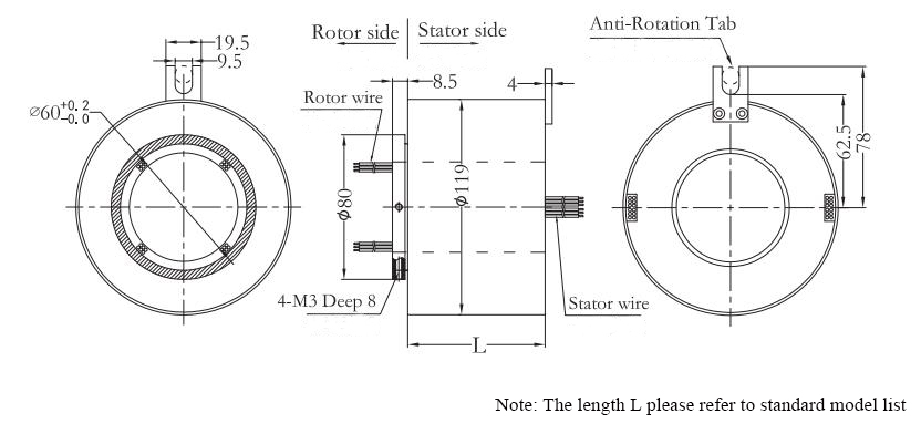 ATO-THSR-H60119 Through Bore Slip Ring Dimension Drawing