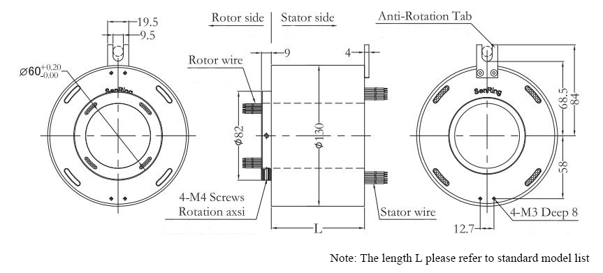 ATO-THSR-H60130 Through Bore Slip Ring Dimension Drawing
