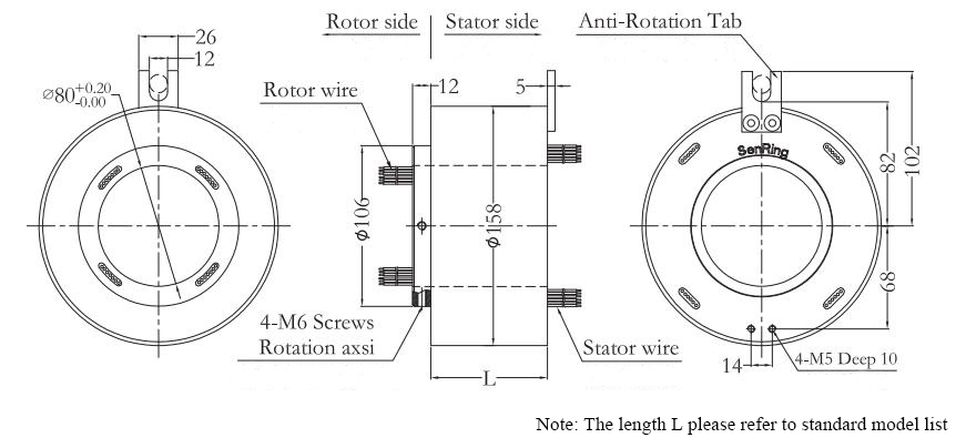 ATO-THSR-H80158 Through Bore Slip Ring Dimension Drawing