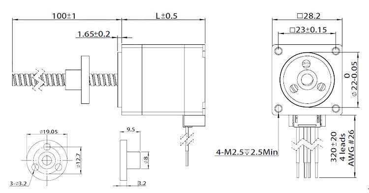 nema 11 external shaft stepper motor linear actuator dimension