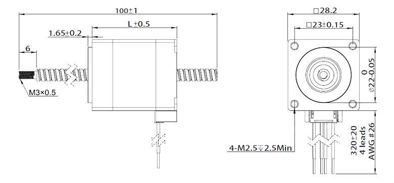 Nema 11 Stepper Motor Linear Actuator, 2 phase, 4.4V, 0.96A Nema Stepper Motor Wiring Diagram on