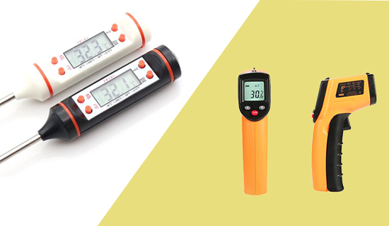 Non-contact infrared thermometer vs a contact-type thermometer