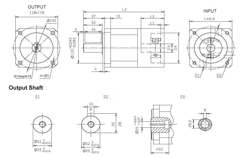 planetary gearbox inline dimensions 118