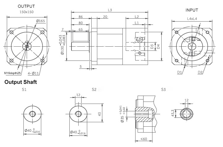 planetary gearbox inline dimensions 150