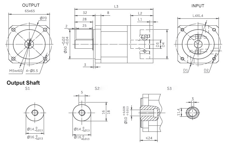 planetary gearbox inline dimensions 65
