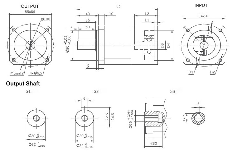 planetary gearbox inline dimensions 85