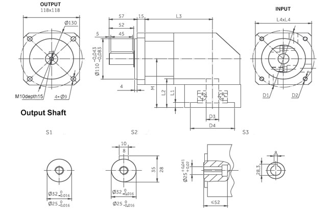 planetary gearbox right angle dimensions 118