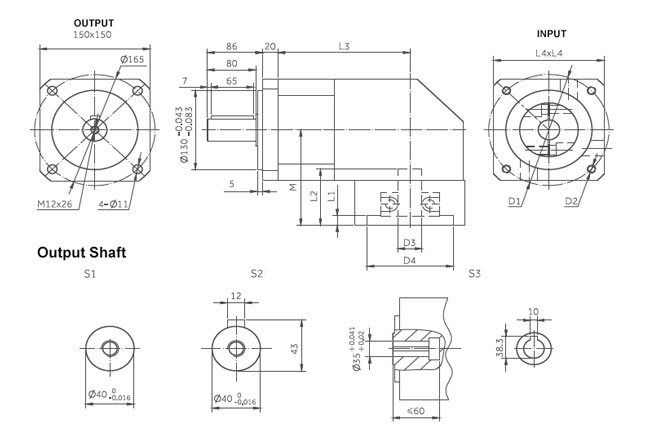 planetary gearbox right angle dimensions 150