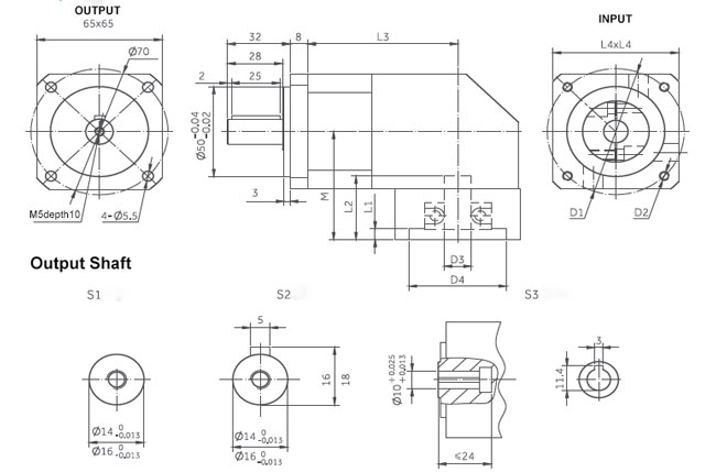 planetary gearbox right angle dimensions 65