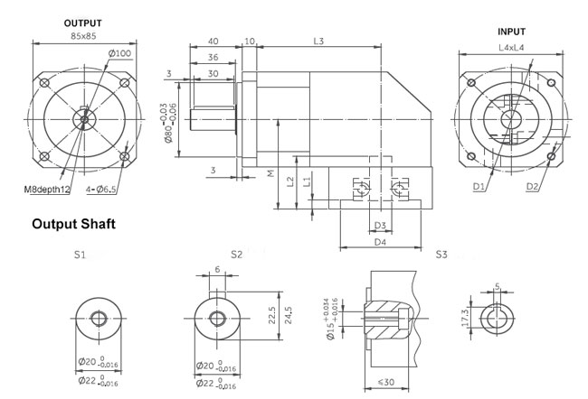planetary gearbox right angle dimensions 85