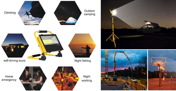 Portable rechargeable flood solar light applications