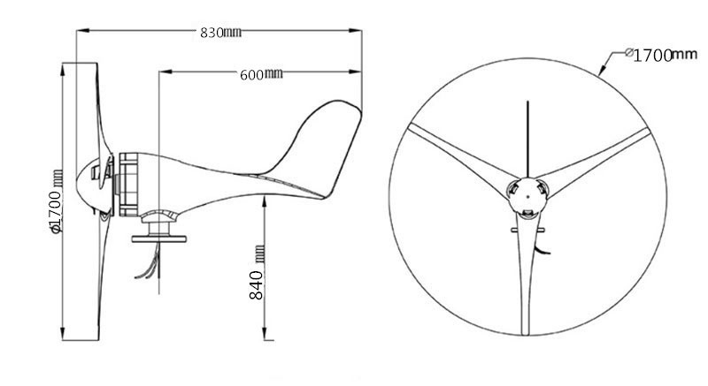 Portable wind generator dimensions
