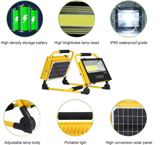 Portable work solar light features