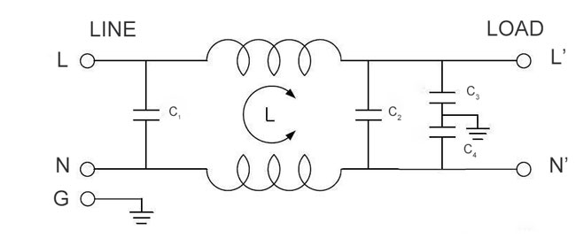 power line filter structure schematic