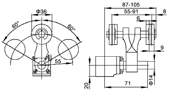 Roller lever of heavy duty limit switch dimension