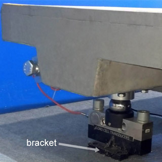 Shear beam load cell fastened to a bracket