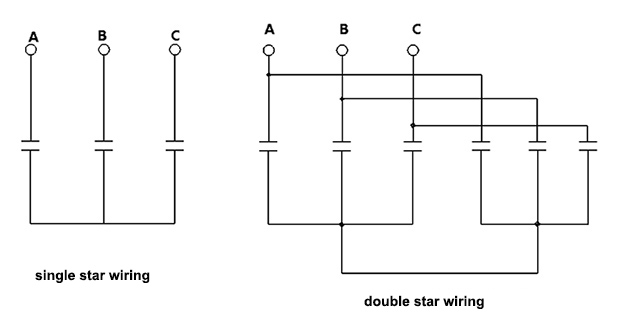 shunt capacitor single double star wiring