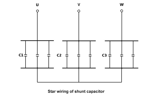 shunt capacitor star wiring