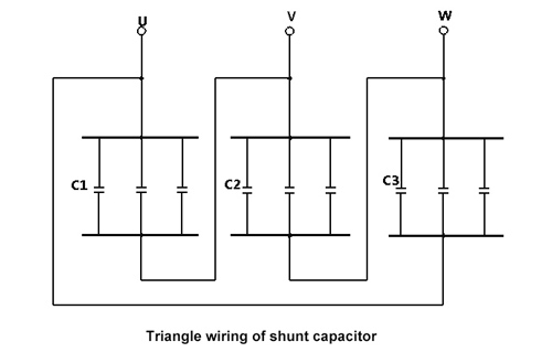 shunt capacitor triangle wiring