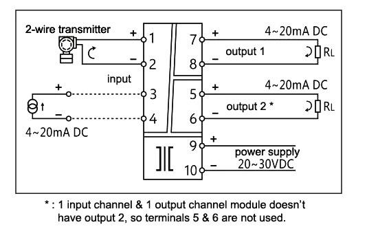 Signal Isolator Input  Output K  B  S  E  Pt100  4 0 1