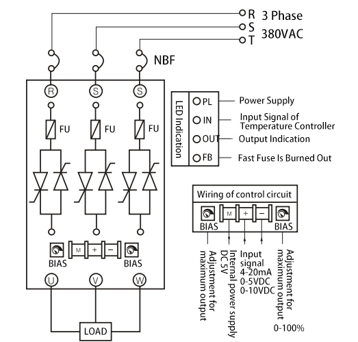 Star Type Wiring Diagram of 3 Phase 3-Wire SCR Power Regulator