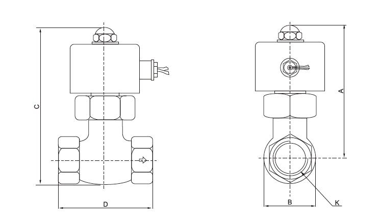 2-Way Steam Solenoid Valve NC Dimensions