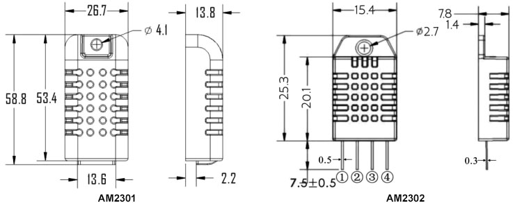 Temperature and humidity sensor AM2301 dimensional drawing