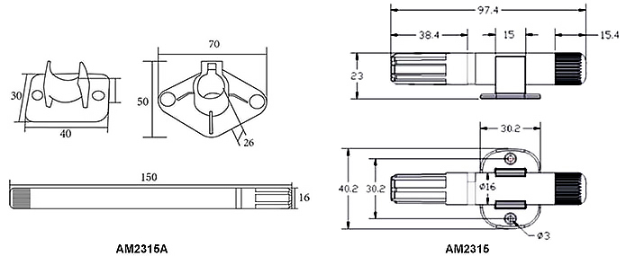 Temperature and humidity sensor AM2315A dimensional drawing