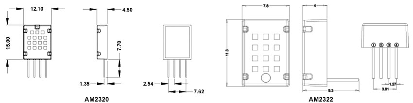 Temperature and humidity sensor AM2320 dimensional drawing