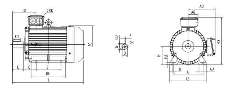 three phase induction motor foot mounting B3