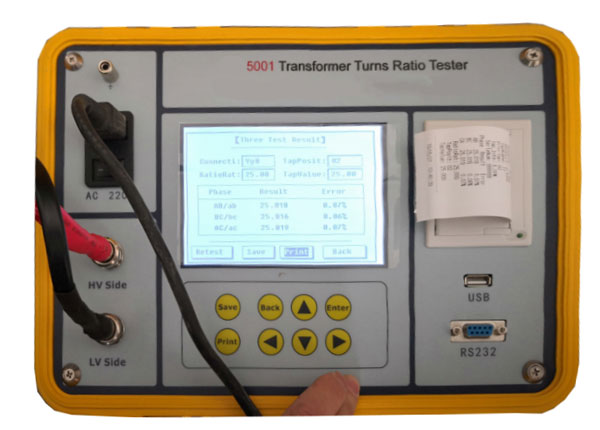 Transformer turns ratio tester feature