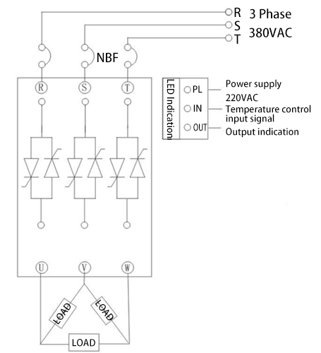 Triangle Wiring Diagram of 3 Phase 3-Wire SCR Power Regulator