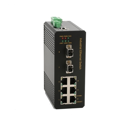 8 Port Managed Industrial Switch, Layer 2, Din Rail